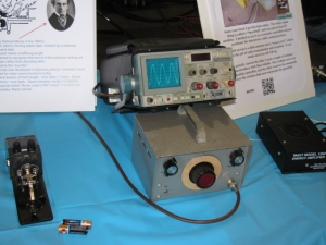 An audio frequency test station with an oscilloscope, signal generator and audio amplifier. A microphone inserted into the amplifier input became a popular function for kids and adults - Speak into the microphone and see what you sound like!