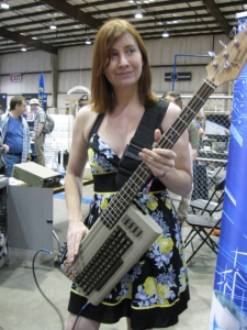 Jeri Ellsworth - aka Circuit Girl - at the 2012 Bay Area Maker Faire. She's playing her 8-bit bass key-tar.