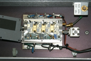 Figure 2. A peek inside the SSPA. No tuning is required to get two to three watts output on 10368MHz.