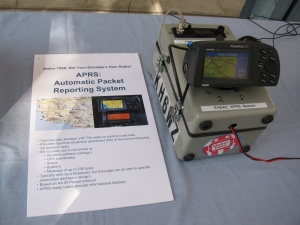 KH6WZ-5 APRS beacon - active and sending position data at the 2013 OC Mini Maker Faire at UCI. The beacon message included the Faire's URL.