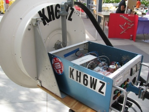 The KH6WZ 10 GHz transmitter-receiver unit on display at the Orange County Mini Maker Faire  on the UCI campus