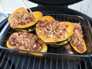 Back on the grill and continue baking for another 20 minutes - or until done. Poke the squash with a skewer or fork to verify doneness.