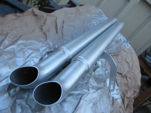 Type 65 Coupe side exhaust pipes painted with silver BBQ paint - I think it looks OK.