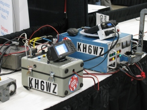 Here are three of my projects. On the far left, is a microwave field strength detector, this is used to demonstrate vertical or horizontal polarization, the KH6WZ unit in the middle is an APRS beacon, transmitting GPS coordinates (this unit generated and transmitted the GPS coordinates used to generate the location on the APRS locator map at the top of this page) and at the far right is my distance record-setting 10 GHz microwave transmitter-receiver system.