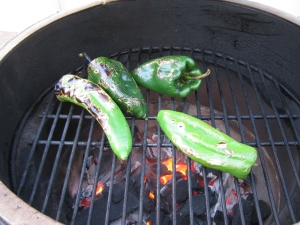 Anaheim and parsilla peppers on the Big Green Egg