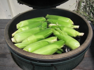 Direct grilling corn on the cob